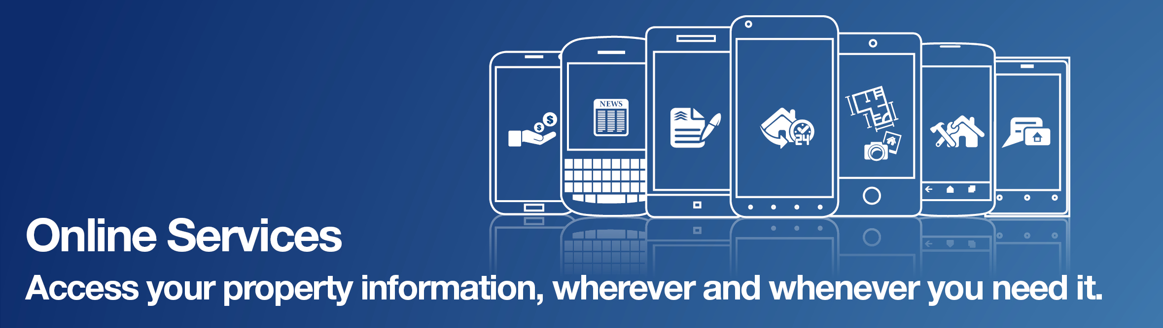 Online Services banner showing various mobile devices.