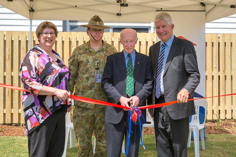Photo: DHA Acting Managing Director, MS Jan Mason, Lieutenant Colonel Benjamin Slaughter, Major General Adrian Clunies-Ross, AO, MBE (Ret'd), DHA Chairman, the Hon. J.A.L. (Sandy) Macdonald, at the ribbon-cutting ceremony