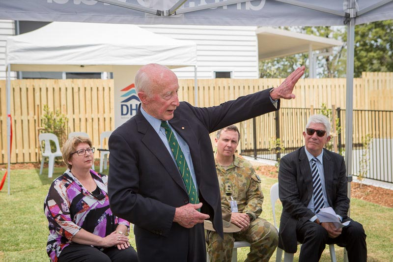 Photo: Major General Adrian Clunies-Ross, AO, MBE (Ret'd) giving a speech at the ribbon-cutting ceremony